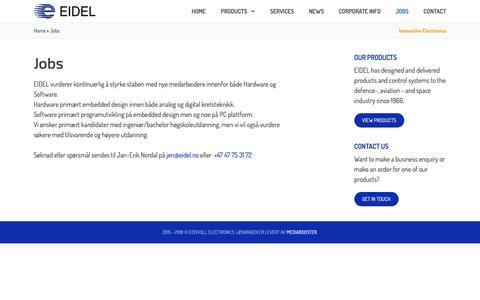 Screenshot of Jobs Page eidel.no - Jobs - Eidsvoll Electronics - captured Nov. 9, 2018