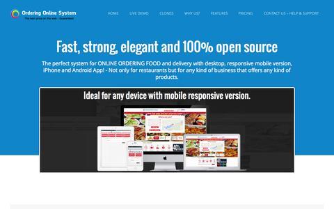 Screenshot of Home Page orderingonlinesystem.com - Ordering Online System – Best Online Food Ordering Software - captured Sept. 17, 2014