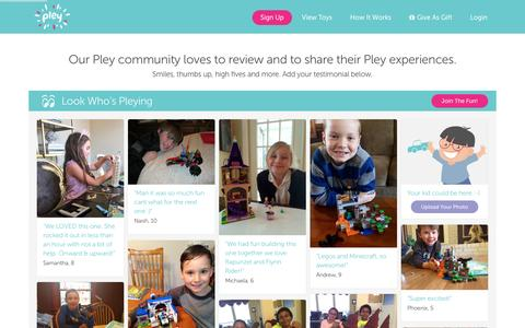 Screenshot of Testimonials Page pley.com - Pley reviews |  Pley | Rent the coolest toys including LEGO®, American Girl and other amazing toys - captured Feb. 15, 2016