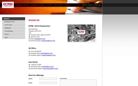 Screenshot of Contact Page Maps & Directions Page ecrm.com - ECRM Imaging Systems - Contact Us - captured Oct. 22, 2014