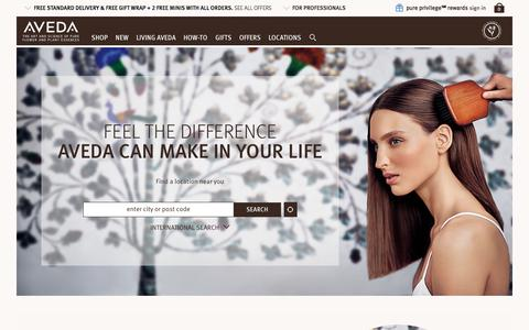 Screenshot of Locations Page aveda.co.uk - Aveda Stores - Locations and Hours | Aveda United Kingdom E-Commerce Site - captured Oct. 21, 2017