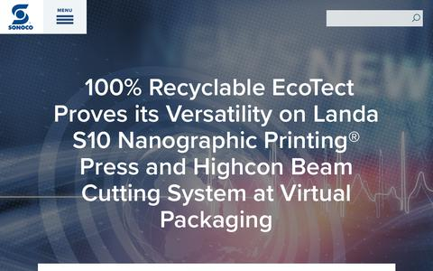 Screenshot of Press Page sonoco.com - 100% Recyclable EcoTect Proves its Versatility on Landa S10 Nanographic Printing® Press and Highcon Beam Cutting System at Virtual Packaging | Sonoco - captured Nov. 5, 2019