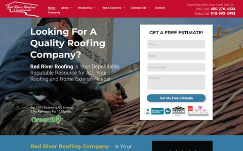 Screenshot of Home Page redriverroofing.com - Best Roofing Company in Oklahoma City & Tulsa | #1 Roofers - captured Feb. 15, 2019