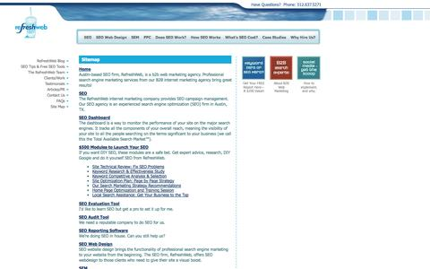 Screenshot of Site Map Page refreshweb.com - Austin SEO Firm, Internet Marketing Company, Pay Per Click Advertising Services | RefreshWeb - captured Oct. 26, 2014