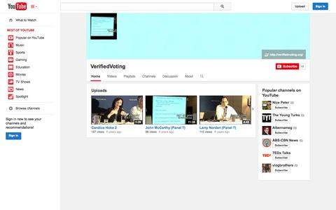 Screenshot of YouTube Page youtube.com - VerifiedVoting  - YouTube - captured Oct. 26, 2014