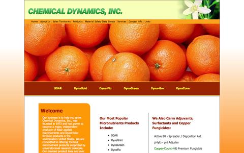Screenshot of Home Page chemicaldynamics.com - Chemical Dynamics, Inc is an independent producer of foliar applied micronutrients and liquid foliar fertilizer products. - captured Oct. 2, 2014