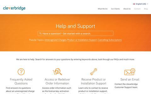 Screenshot of Support Page cleverbridge.com - cleverbridge Help & Support - captured Sept. 20, 2017