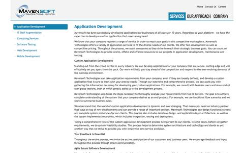 Screenshot of Services Page mavensoft.com - Application Development - Mavensoft - captured Oct. 27, 2014