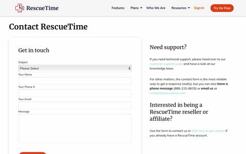 Screenshot of Contact Page rescuetime.com - Contact RescueTime - captured Aug. 19, 2019