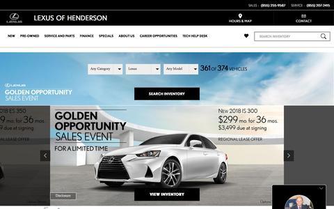Screenshot of Home Page lexusofhenderson.com - Lexus of Henderson Serving Las Vegas Lexus Shoppers - captured July 18, 2018