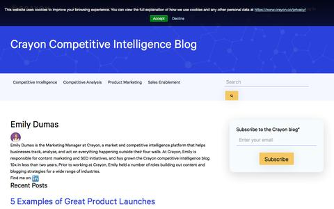 Screenshot of Blog crayon.co - Crayon Blog – Marketing Insights and Inspiration | Emily Dumas - captured Feb. 10, 2020
