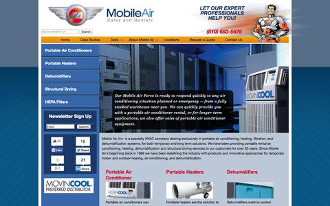 Screenshot of Home Page mobileair.com - Mobile Air - Portable Air Conditioner and Heater Rental - captured Sept. 22, 2014