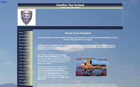 Screenshot of Home Page chauffeurtourscotland.co.uk - Chauffeur Tour Scotland - Scottish Luxury Private Tour Specialists. - captured July 20, 2015