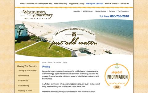 Screenshot of Pricing Page wcbay.com - Talking To Your Parents   Westminster-Canterbury on Chesapeake Bay - captured Feb. 14, 2016