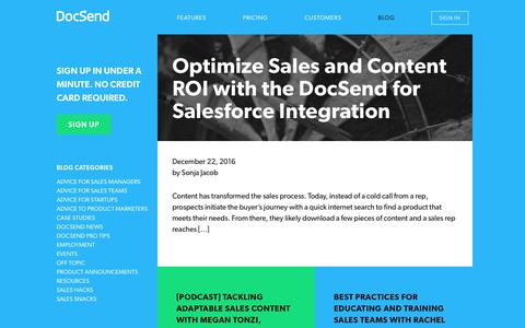Screenshot of Blog docsend.com - Get access to fresh sales and marketing insights from the DocSend blog. - captured Jan. 14, 2017