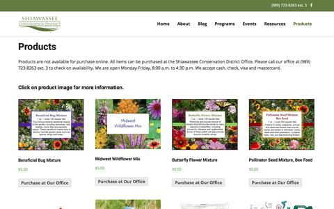 Screenshot of Products Page shiawasseeccd.org - Products – Shiawassee Conservation District - captured July 3, 2018