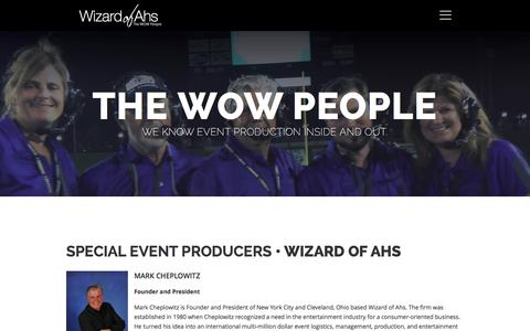 Screenshot of Team Page wizardofahs.com - Special Event Producers in CLE & NYC - Wizard of Ahs - captured Jan. 14, 2016