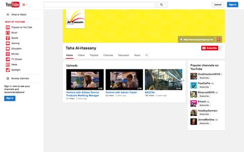 Screenshot of YouTube Page youtube.com - Taha Al-Hassany  - YouTube - captured Oct. 23, 2014