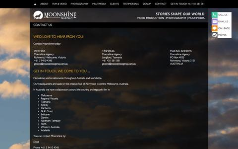 Screenshot of Contact Page moonshineagency.com.au - CONTACT US - Moonshine Agency - captured Dec. 20, 2015