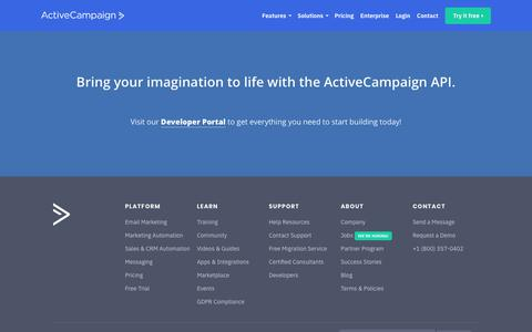 Screenshot of Developers Page activecampaign.com - Email Marketing API - captured Oct. 11, 2018