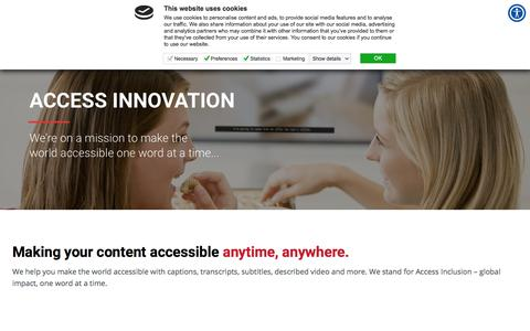 Screenshot of Home Page ai-media.tv - Ai-Media Homepage - Access Innovation for inclusion - captured July 23, 2019