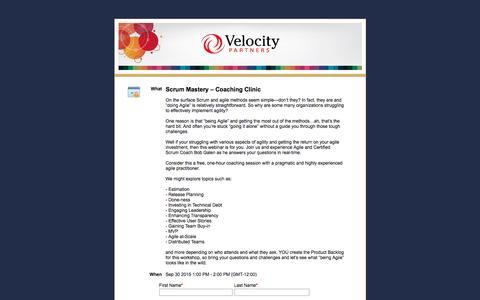 Screenshot of Landing Page velocitypartners.net - Scrum Mastery – Coaching Clinic - captured Sept. 18, 2017