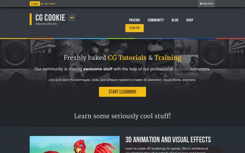 Screenshot of Home Page cgcookie.com - CG Cookie - Education Hub Site - captured June 17, 2015