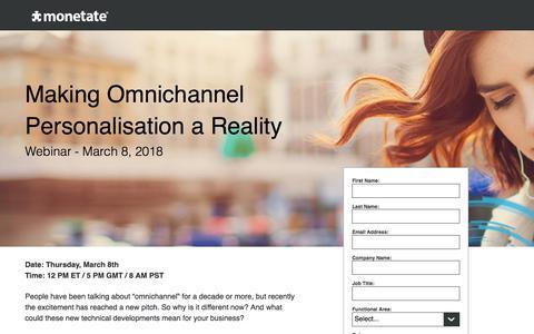 Screenshot of Landing Page monetate.com - Webinar: Making Omnichannel Personalization a Reality - captured March 1, 2018