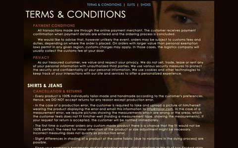Screenshot of Terms Page itailor.com - Terms & Conditions - Custom dress shirts, Men's dress shirt | iTailor.com - captured March 8, 2019