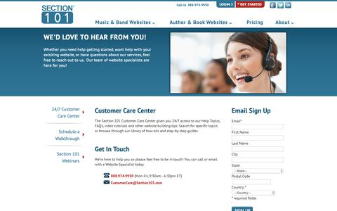 Screenshot of Support Page section101.com - Customer Care Center : Section 101 - captured March 8, 2019
