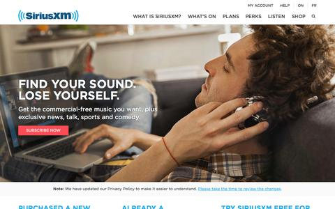 Screenshot of Home Page siriusxm.ca - Satellite & Internet Radio | SiriusXM Canada - captured Oct. 2, 2015