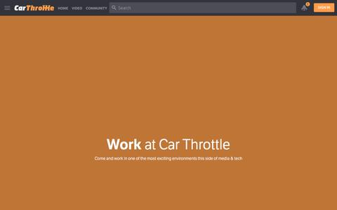 Screenshot of Jobs Page carthrottle.com - Work at Car Throttle - captured Oct. 15, 2016