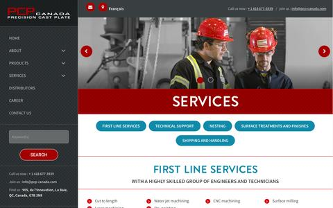 Screenshot of Services Page pcp-canada.com - Services - Mon site - captured July 11, 2016