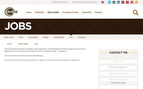 Screenshot of Jobs Page dobla.com - Dobla.com - Chocolate decorations and chocolate cups - Jobs at Dobla - captured Aug. 2, 2016