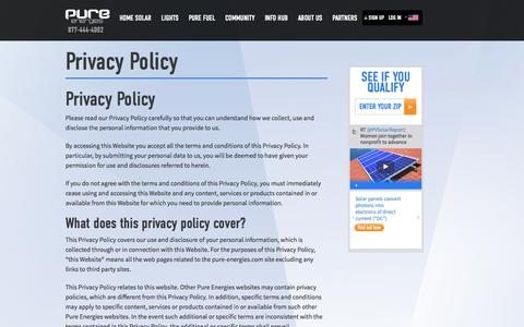 Screenshot of Privacy Page pureenergies.com - Privacy Policy - Pure Energies USA - captured Oct. 10, 2014