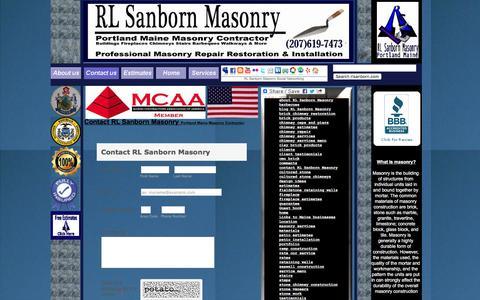 Screenshot of Contact Page rlsanborn.com - RL Sanborn Masonry Contact Page - captured Feb. 16, 2016