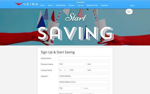 Screenshot of Signup Page veiramedical.com - Veira | Sign Up - captured Oct. 20, 2018
