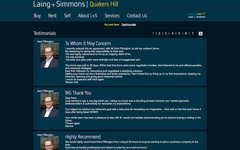 Screenshot of Testimonials Page lsqh.com.au - Testimonials - captured Oct. 1, 2014