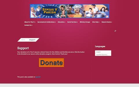 Screenshot of Support Page stpiusvparish.org - Support | St. Pius V Parish - captured Oct. 6, 2014