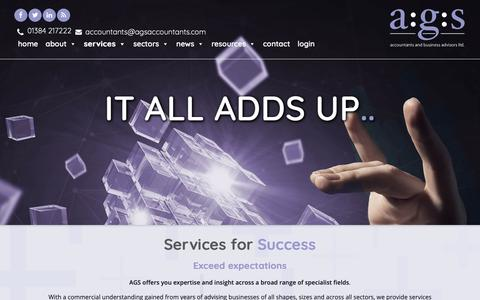 Screenshot of Services Page agsdudley.co.uk - Services for Success - Chartered Accountants in Dudley & the West Midlands - captured Nov. 12, 2018