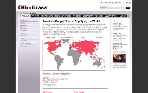 Screenshot of Locations Page olinbrass.com - Copper Alloy Supplier Locations | Locations | GBC Holdings, Olin Brass - captured Oct. 26, 2014
