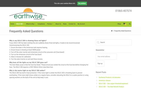 Screenshot of FAQ Page earthwiseproducts.co.uk - Frequently Asked Questions – Earthwise Products - captured Sept. 26, 2018