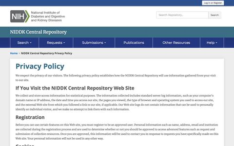 Screenshot of Privacy Page nih.gov - NIDDK Central Repository Privacy Policy - captured March 25, 2018