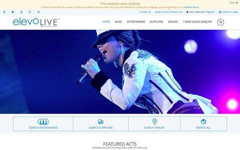 Screenshot of Home Page elevolive.com - Elevo Live | Events Made Simple - captured Nov. 5, 2016