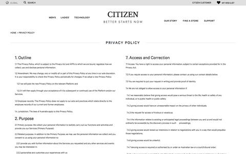 Screenshot of Privacy Page citizenwatches.com.au - Privacy Policy | Citizen Watches Australia - captured Sept. 24, 2018