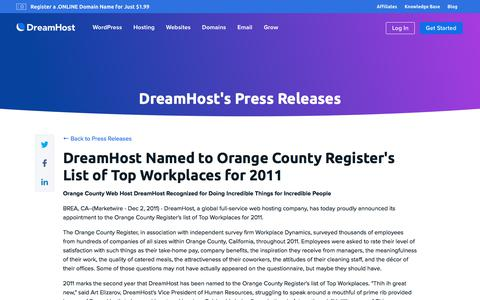 Screenshot of Press Page dreamhost.com - DreamHost Named to Orange County Register's List of Top Workplaces for 2011  – DreamHost - captured Feb. 21, 2020
