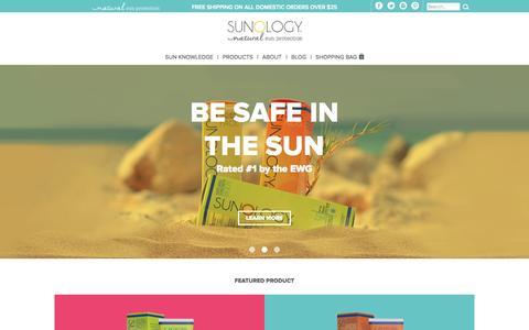 Screenshot of Home Page sunology.com - Best Natural Sunscreen | Sunology - captured Sept. 6, 2015