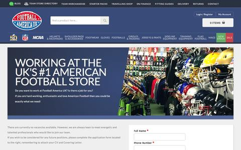 Screenshot of Jobs Page footballamerica.co.uk - Careers - Football America UK Ltd - captured Sept. 2, 2016