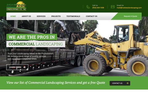 Screenshot of Home Page matteoslandscaping.net - Matteo's Landscaping Company Inc. is one of South Florida's premier commercial landscaping companies located in Southwest Ranches - captured Feb. 17, 2017