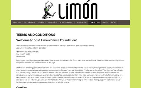 Screenshot of Terms Page limon.org - Terms and Conditions - Limón - captured Nov. 27, 2016